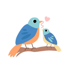 Mother bird feeding her chick cute forest birds vector