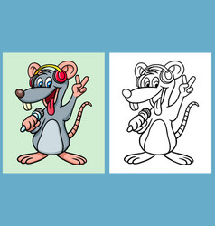 Mouse singing a song cartoon character vector