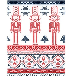 Nordic xmas pattern with nutcracker red and blue vector
