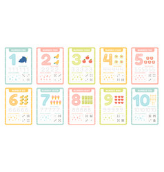 numbers learning cards kindergarten flashcards vector image