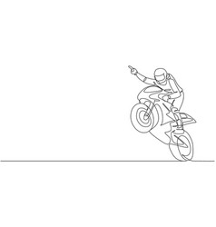 One continuous line drawing young moto racer vector