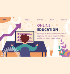 online education banner distant e-learning process vector image