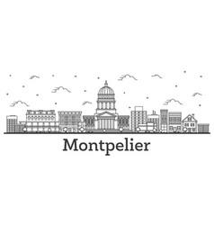 outline montpelier vermont city skyline vector image