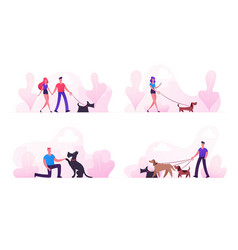 people spending time with pets outdoors set male vector image