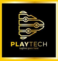 Play tech logo vector