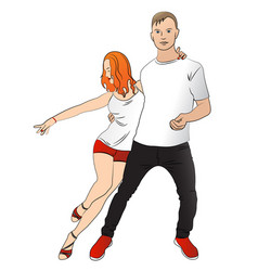 Realistic drawing couple is dancing latina vector