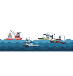 sail and fishing boats in ocean waves vector image