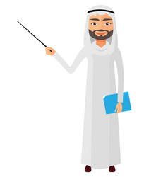 Saudi iran business man or teacher with a pointer vector