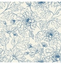 Seamless floral pattern with chrysanthemums vector