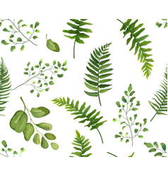 Seamless greenery botanical pattern with leaves vector
