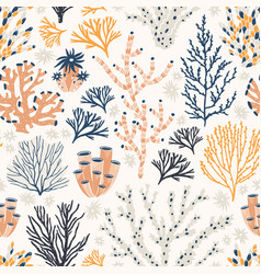 Seamless pattern with corals and seaweed or algae vector