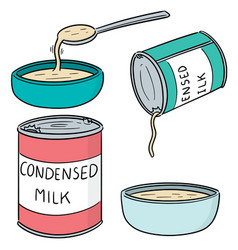 Set condensed milk vector