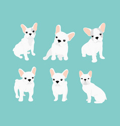 set cute little white vector image
