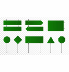 set green road signs blank traffic signs vector image