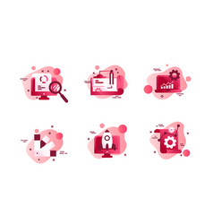 set icons with agency design laptop diagram vector image