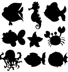 Set of aquatic animals in black vector image