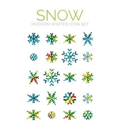 Set of Christmas snowflake icons vector image