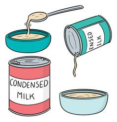 Set of condensed milk vector