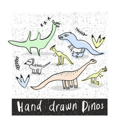 set of hand drawn prehistoric animals in naive vector image