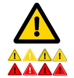 set of triangle caution icons caution sign stock vector image