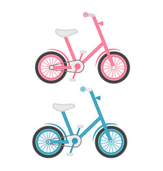 set of two kids bicycles isolated on a white vector image vector image