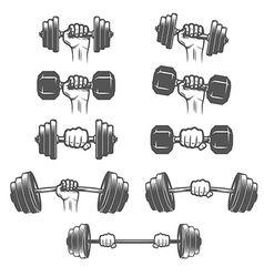 Set of vintage hands with dumbbells vector image