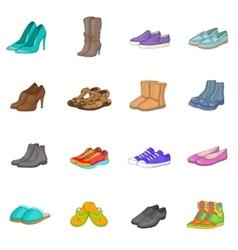 Shoe icons set cartoon style vector image