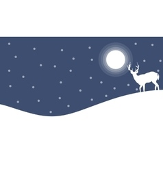 Silhouette of deer with moon landscape vector