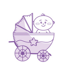 silhouette security stroller with bachild vector image