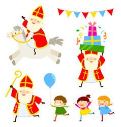 sinterklaas characters set vector image