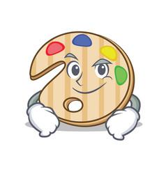 Smirking paint palette character cartoon vector