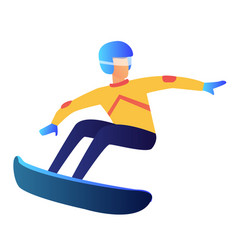 Snowboarder riding vector