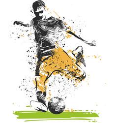 soccer player kicking ball sport vector image
