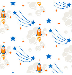 space rocket cartoon seamless pattern vector image