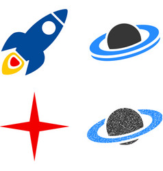 Space rocket flat icons vector