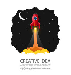 Space rocket launch banner startup creative idea vector