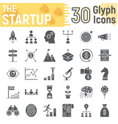 Startup glyph icon set development symbols vector