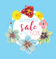 summer sale flower banner with text on blue vector image