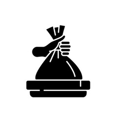 Taking out trash black glyph icon vector