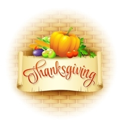Thanksgiving Card wicker basket background vector image