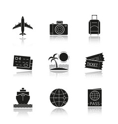 travel and tourism drop shadow black icons set vector image