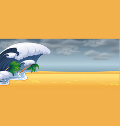 tsunami hit the beach vector image