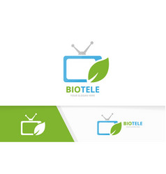 Tv and leaf logo combination television vector
