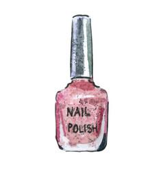 Watercolor nail polish pink color vector