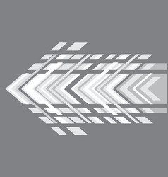 White arrow geometric direction on grey vector