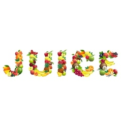 Word juice composed different fruits vector