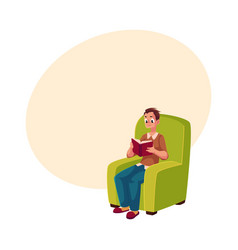 Young man boy reading book sitting comfortably in vector