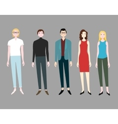 Five People Flat Set vector image vector image
