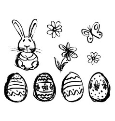 hand sketch of easter elements vector image