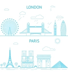London and Paris skyline in lines vector image